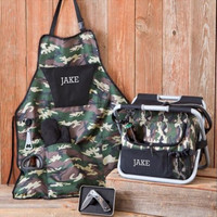 Personalized Deluxe Camouflage Grilling Apron Set , Grilling Apron , grilling apron set , custom