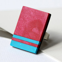 Ring with red and turquoise stripes- statement ring