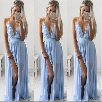 KANCOOLD dress new high quality Sexy Summer Chiffon Sleeveless Boho Long Dress Maxi Evening Party Beach dress women mar28