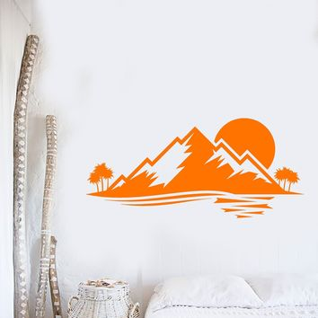 Vinyl Wall Decal Island Nature Palm Tree Mountain Sunset Stickers Unique Gift (873ig)