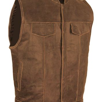 CD D C Mens Motorcycle Biker Naked Cowhide Leather Club Vest Gun Pocket Gray