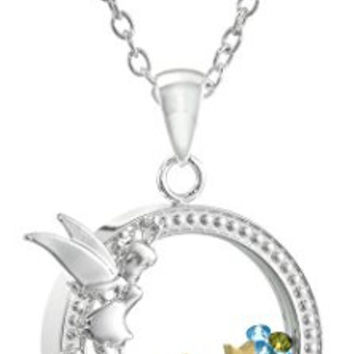 "Disney Silver Plated Tinkerbell Silhouette Shaker Pendant Necklace, 18"" + 2"" Extender"