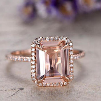 8x10 Emerald Cut Morganite engagement ring diamond ring,Solid 14k Rose gold promise ring,bridal ring,custom made fine jewelry,pave set