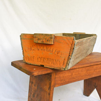 Rustic Wooden Crate, Carrier Box, Vintage Rustic Wooden Trug Basket, Primitive Wooden Carrier, Rustic Wooden Box,