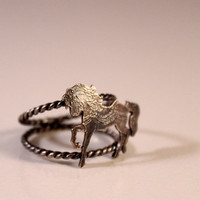 Carousel Horse Ring- Sterling Silver Horse- Sterling Silver Twisted Double Band- Antique Patina Finish- Various Size Available