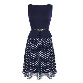 New Hot women summer Chiffon dress Vintage Polka Dot formal Sleeveless Fit and Flare dress Wear To Work Tunic Zip Dresses
