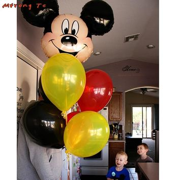 7pcs Mickey mouse head balloon 12'' latex ballon Birthday Party Wedding baby shower decorations children's toys globos Supplies