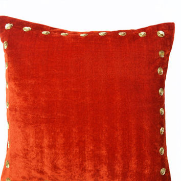 Velvet pillow - Orange velvet pillow with gold sequin detail - 20x20 -Sequin throw pillows in velvet- Gift throw pillow -Orange couch pillow