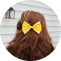 Happy Bee Hair Bow - Yellow and Bumblebees Hair Bow with Clip
