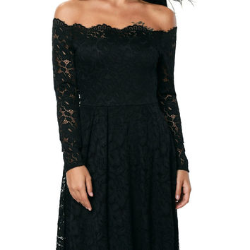Black Lace Long Sleeve Off the Shoulder Cocktail Party Dress