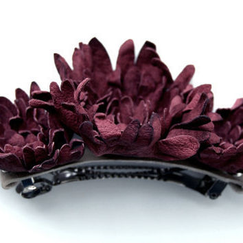 Claret leather floral hair clip