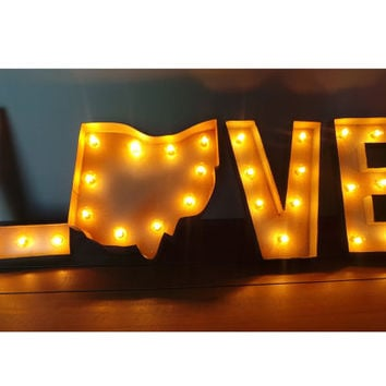 """12"""" LOVE Your State Light Up Marquee Sign - CUSTOM STATES"""