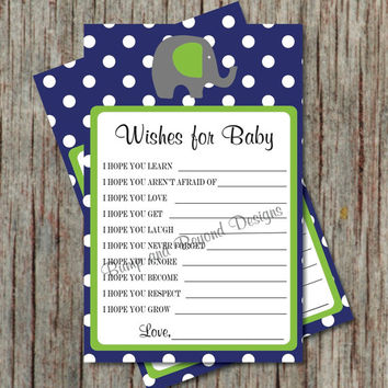 Dear Baby Shower Game Wishes for Baby Advice Game Instant Download Printable Elephant Shower Navy Blue Lime Green Boy Shower Game diy - 038