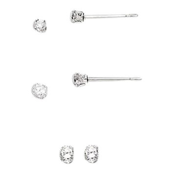 Set of Sterling Silver Studd Earrings 2mm, 3mm and 6mm Round Snap Set Cz