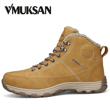 VMUKSAN Hot Sale Boots Men Big Size 39-46 Fashion Ankle Boots Mens High Quality Lace Up Casual Man Snow Shoes