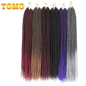 "30roots 14"" 16"" 18"" 20"" 22""  Synthetic Braiding Hair Ombre Kanekalon Senegalese Twist Hair Crochet Braids 1Pack"