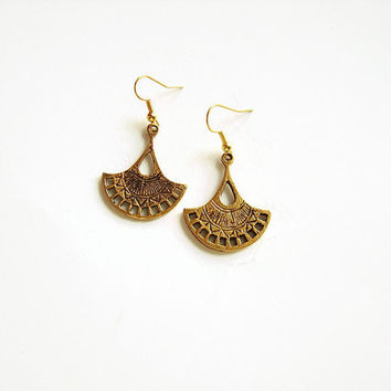 Antique gold ethnic earrings, Ethnic bohemian earrings, Gold bohemian tribal earrings, Greek earrings, Patina earrings, Gold earrings