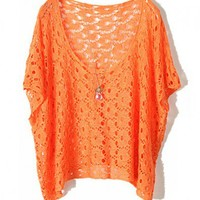Orange Knitted Jumpers with Batwing Sleeves