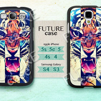 Samsung Galaxy S4 Case Cross Tiger Samsung phone case tiger Galaxy S3 S4 skin case cover Hard or Soft Case-TG01