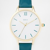 Oasis Green Leather Watch