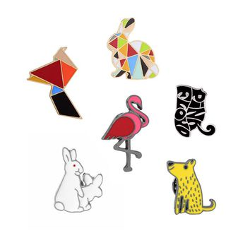 Quirky Geometric Multicolor Rabbit Flamingo Cute Cat Enamel Brooch Pins Set