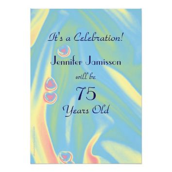 75 Years Old Pastel Blue Birthday Party Invite
