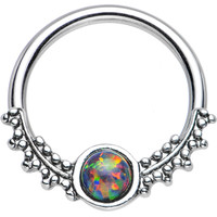 """14 Gauge 1/2"""" Synthetic Black Opal Drops of Dew Captive Ring   Body Candy Body Jewelry"""