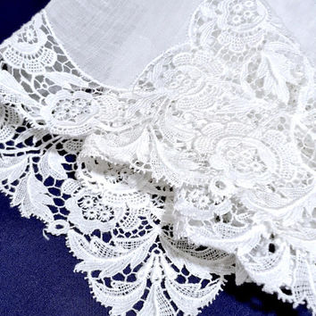Antique Lace Bridal Handkerchief, Wedding Hankie, Ladies Handkerchief, All White, Vintage Hankie, Wedding Keepsake, Brides Gift
