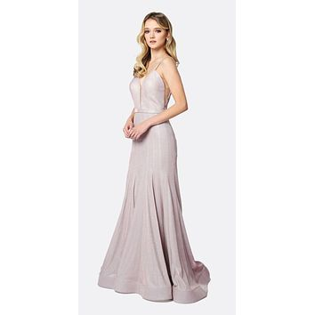 Low V-Neck Fitted Glitter Mermaid Prom Dress Rose Gold