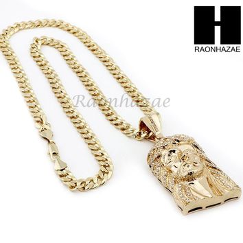 HIP HOP ICED OUT JESUS FACE PENDANT & DIAMOND CUT CUBAN LINK CHAIN NECKLACE N31