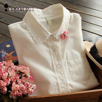 White Blouse Button Up Lace Crochet Turn Down Collar Long Sleeve Cotton Top Shirt with Pocket Size S-L blusas feminina T58324