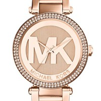 Women's Michael Kors 'Parker' Logo Dial Bracelet Watch, 39mm - Rose Gold