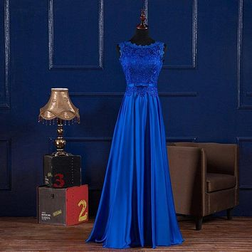 Royal Blue Lace Satin Bridesmaid Dress With Scoop Neck Lace Up 2017 New Long Wedding Party Dress Burgundy