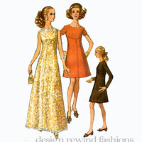 60s EVENING DRESS PATTERN Fit & Flare Empire Waist Maxi Dress Cocktail Dress Simplicity 8498 Bust 36 UNCuT Vintage Women's Sewing Patterns