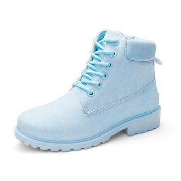 Fashion trending boots for women shoes waterproof Martin boots Light blue