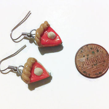 Pumpkin Pie Earrings, Thanksgiving Earrings, Polymer clay charms, food jewelry, kawaii jewelry, miniature food, gift ideas, fall jewelry