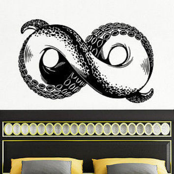 Wall Decal Octopus Infinity sign Tentacles Fish Deep Sea Ocean Animals Decor C93