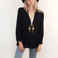 Vintage Black Blazer with Gold Embroidery