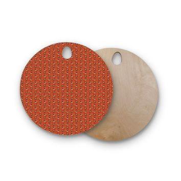 """Holly Helgeson """"Deco Arrows"""" Red Pattern Round Wooden Cutting Board"""