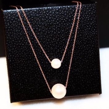 Multi Color Double Layers Round Simulated Pearl Pendant Necklace
