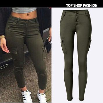 With Pocket Women's Fashion Low Waist Slim Stretch Green Casual Sports Camping Pants Outdoors Skinny Pants [8845547463]