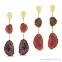 Sugilite & Rodonite Crystal Dangling / Drop Fashion Earrings in 14k Yellow Gold