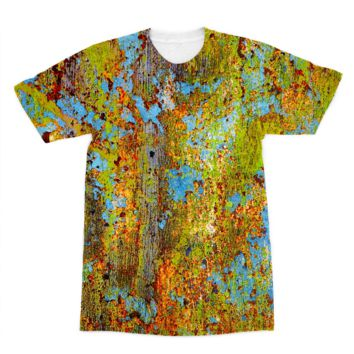 Blue and Lime Green Chipping Paint American Apparel Sublimation T-Shirt