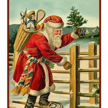 Victorian Father Christmas Snow Shoeing Santa Delivering Presents Counted Cross Stitch or Counted Needlepoint Pattern