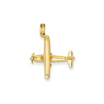 14k Yellow Gold 3D High-Wing Airplane Pendant