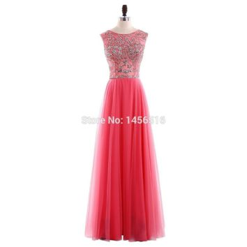 A line Evening Dresses Cap sleeve Floor length Chiffon with Crystal Formal Gown Party Dress