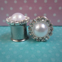 "Pair of Rhinestone and Pearl Plugs - Girly Gauges - 6g, 4g, 2g, 0g, 00g, 7/16"", 1/2"", 9/16"", 5/8"", post earrings"