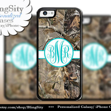 Camo Aqua Monogram iPhone 5C 6 Plus Case iPhone 5s 4 case Ipod Realtree Personalized Country Inspired Girl