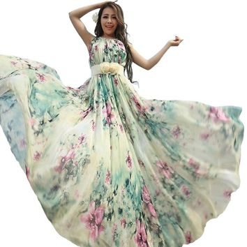 Floral Long Chiffon Maxi Dress