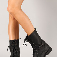 Sun-17 Military Lace Up Mid Calf Boot